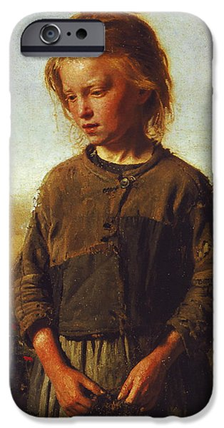 Young iPhone Cases - Fisher girl iPhone Case by Ilya Efimovich Repin