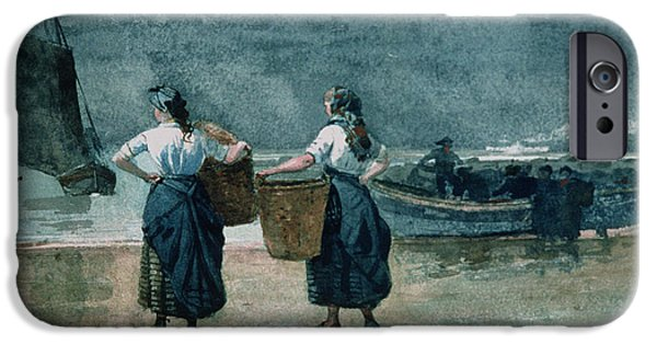 Morning iPhone Cases - Fisher Girls by the Sea iPhone Case by Winslow Homer