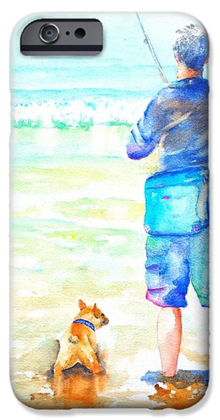Cute Puppy iPhone Cases - Fisherman and Dog at the Beach iPhone Case by Carlin Blahnik