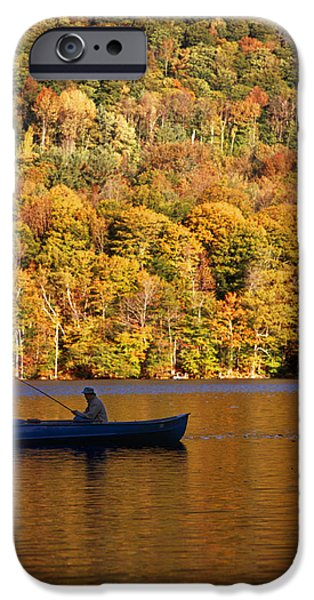 One iPhone Cases - Fisherman In Boat With Fall Foliage iPhone Case by Ink and Main
