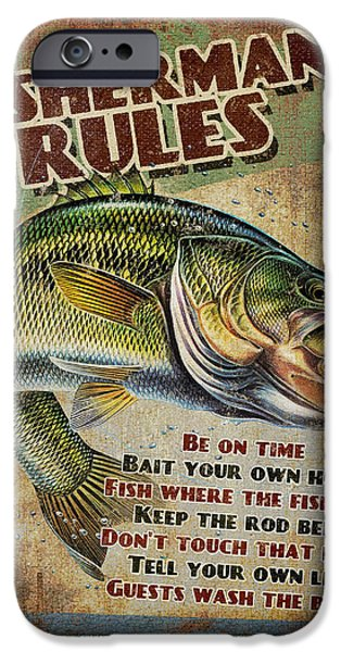 Sign iPhone Cases - Fishermans Rules iPhone Case by JQ Licensing