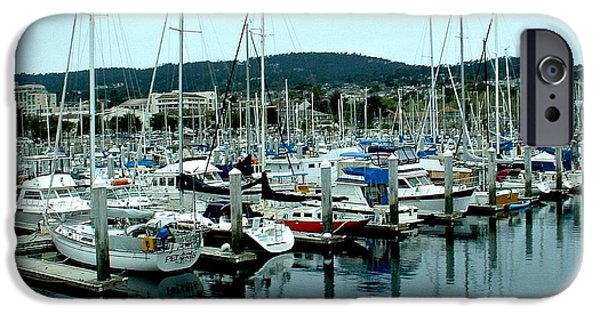 Sailboats iPhone Cases - Fishermans Wharf in Monterey iPhone Case by Mary Chris Hines