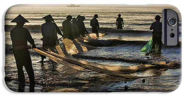 Boat iPhone Cases - Fishermen End of Day Vietnam iPhone Case by Chuck Kuhn