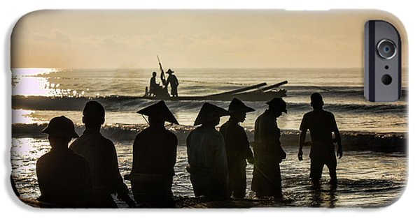 Boat iPhone Cases - Fishermen End of Day Vietnam II iPhone Case by Chuck Kuhn