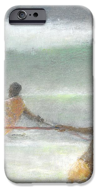 Netting iPhone Cases - Fishermen Hauling Nets iPhone Case by Lincoln Seligman
