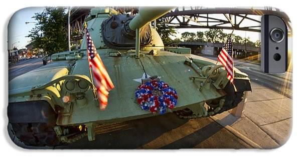 Ewing iPhone Cases - Fisheye view of tank as a memorial to veterans iPhone Case by Sven Brogren