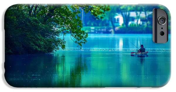 Canoe iPhone Cases - Fishin Blues 2 iPhone Case by Brian Stevens
