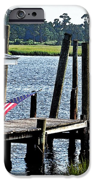 Old Glory iPhone Cases - Fishin With The Flag iPhone Case by Lydia Holly