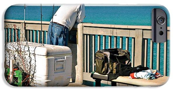 Susan Leggett iPhone Cases - Fishing at the Pier iPhone Case by Susan Leggett