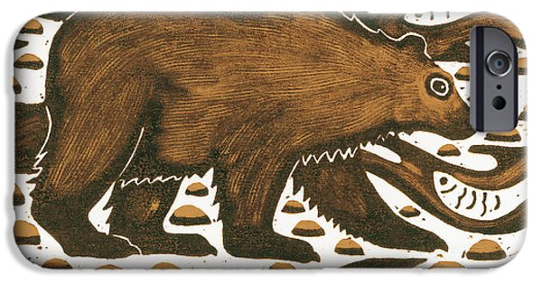 River iPhone Cases - Fishing Bear iPhone Case by Nat Morley