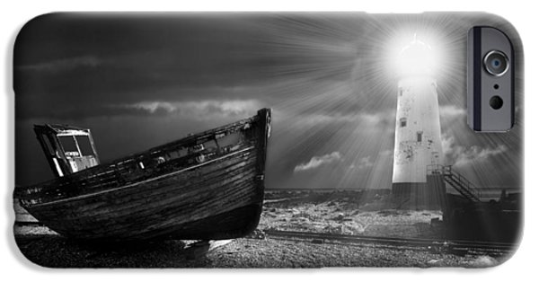 Pebbles iPhone Cases - Fishing Boat Graveyard 7 iPhone Case by Meirion Matthias