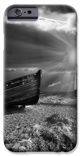 fishing boat graveyard 7 iPhone Case by Meirion Matthias