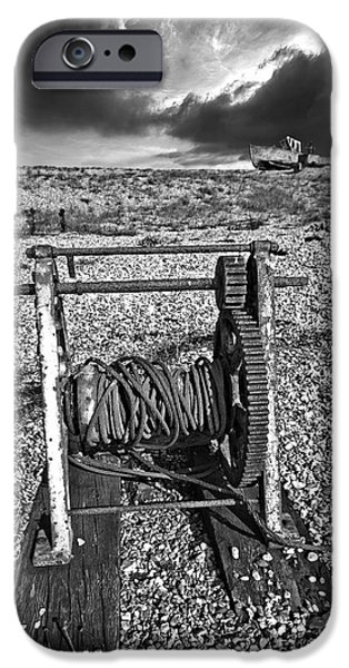 Drama iPhone Cases - Fishing Boat Graveyard 8 iPhone Case by Meirion Matthias