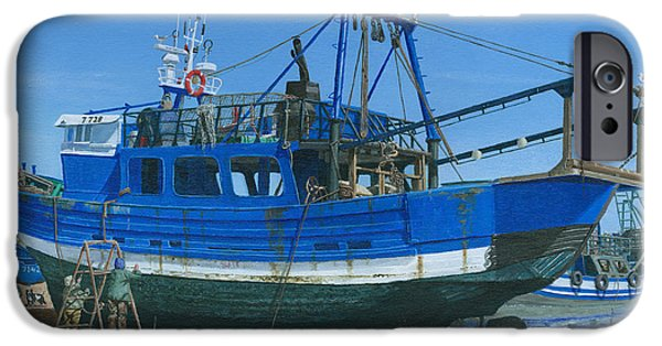 Richard iPhone Cases - Fishing Boat Repairs Essaouira Morocco iPhone Case by Richard Harpum