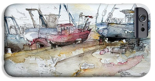 Fischer Boat iPhone Cases - Fishing Boats at Hastings Beach iPhone Case by Barbara Pommerenke