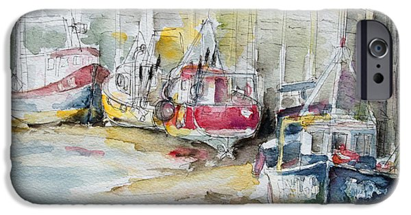 Fischer Boat iPhone Cases - Fishing Boats Settled Aground During Ebb Tide iPhone Case by Barbara Pommerenke