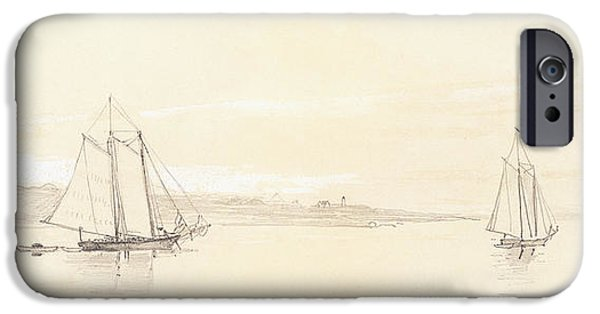 Winslow Homer iPhone Cases - Fishing Fleet at Gloucester iPhone Case by Winslow Homer