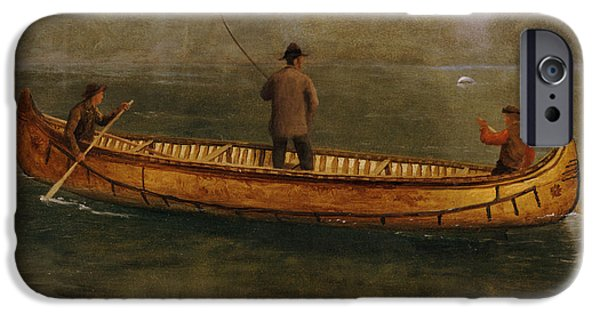 Pastimes iPhone Cases - Fishing from a Canoe iPhone Case by Albert Bierstadt