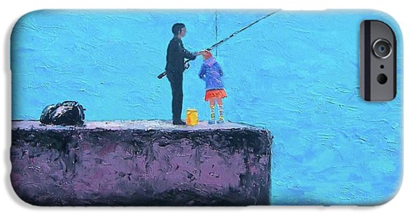 Daughter Gift iPhone Cases - Fishing from the Pier iPhone Case by Jan Matson