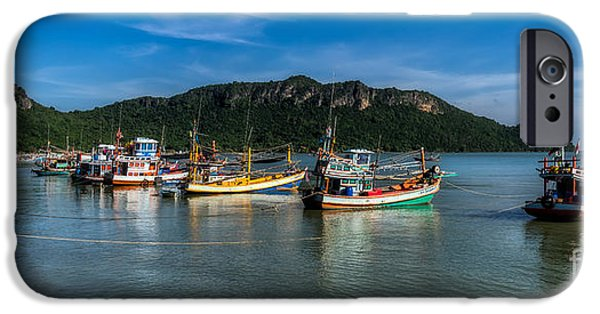 Seaside Digital Art iPhone Cases - Fishing Harbour iPhone Case by Adrian Evans