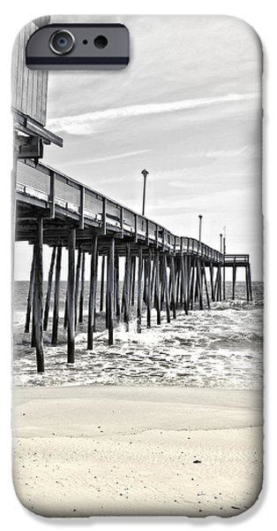 Beach Landscape iPhone Cases - Fishing Pier in Black and White iPhone Case by Tom Gari Gallery-Three-Photography