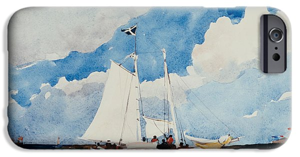 The Beach iPhone Cases - Fishing Schooner in Nassau iPhone Case by Winslow Homer