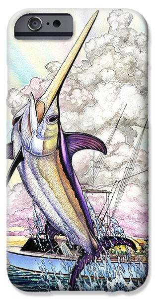 Sailfish Paintings iPhone Cases - Fishing Swordfish iPhone Case by Terry  Fox