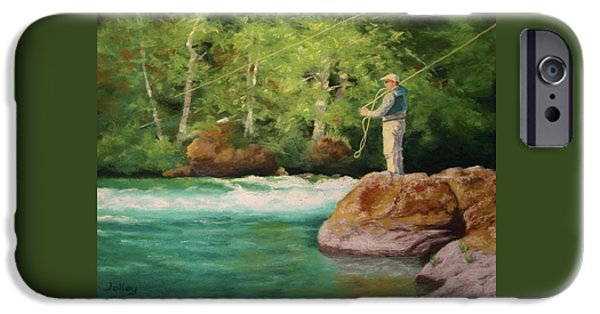 Fishing Pastels iPhone Cases - Fishing the Umpqua iPhone Case by Nancy Jolley