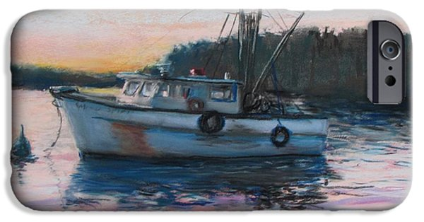 Jack Skinner Pastels iPhone Cases - Fishing Trawler at Rest iPhone Case by Jack Skinner