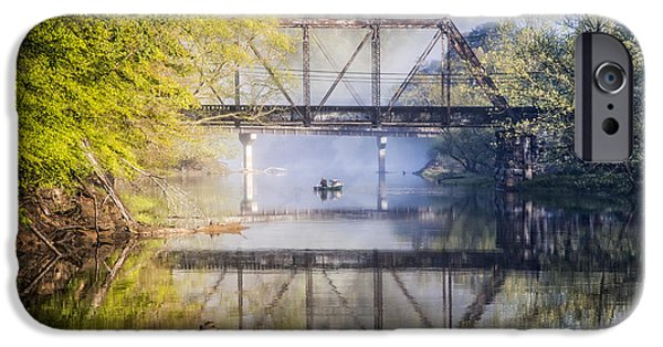 Dog In Landscape iPhone Cases - Fishing Under the Trestle iPhone Case by Debra and Dave Vanderlaan