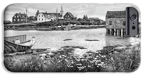 Fishing Shack iPhone Cases - Fishing Village in Black and White - Nova Scotia iPhone Case by Nikolyn McDonald