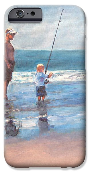 Fishing Pastels iPhone Cases - Fishing with Daddy iPhone Case by Bethany Bryant