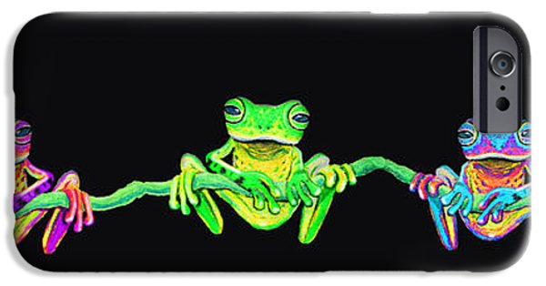Amphibians Digital Art iPhone Cases - Five Frogs on a vine iPhone Case by Nick Gustafson