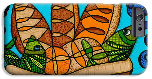 Feed Drawings iPhone Cases - Five Loaves Two Fish Original iPhone Case by Suzanne  Frie