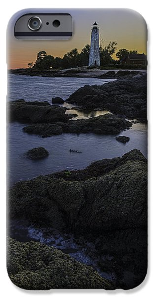 New England Lighthouse iPhone Cases - Five Mile Point Lighthouse - New Haven iPhone Case by Thomas Schoeller