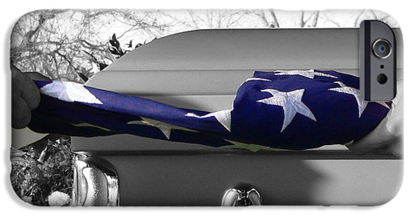 Selective Coloring Art iPhone Cases - Flag for the Fallen - Selective Color iPhone Case by Al Powell Photography USA