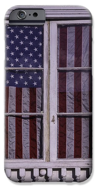Building iPhone Cases - Flag In New Orleans Window iPhone Case by Garry Gay
