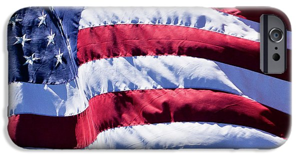 Old Glory iPhone Cases - Flag in the Wind iPhone Case by David Patterson