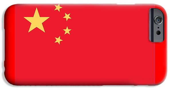 Flag Drawings iPhone Cases - Flag of China iPhone Case by Chinese School
