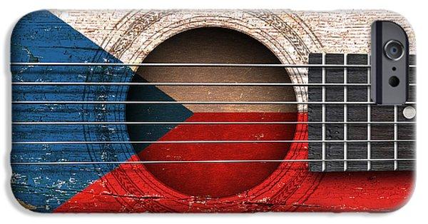 Czech Republic Digital Art iPhone Cases - Flag of Czech Republic on an Old Vintage Acoustic Guitar iPhone Case by Jeff Bartels