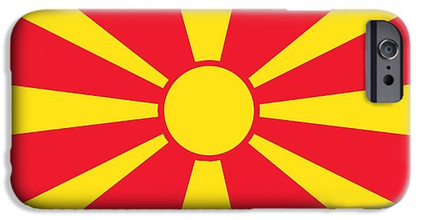 Flag Paintings iPhone Cases - Flag of Macedonia iPhone Case by Unknown
