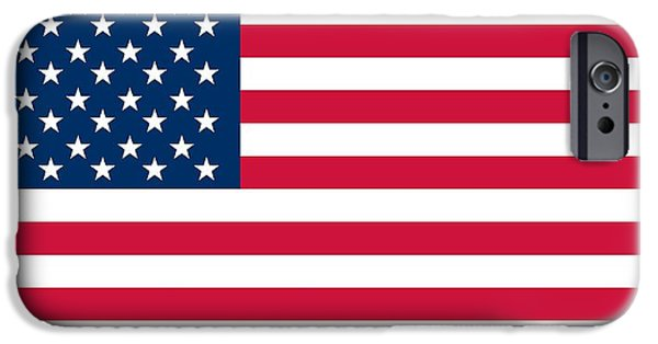 Star Spangled Banner Paintings iPhone Cases - Flag of the United States of America iPhone Case by American School