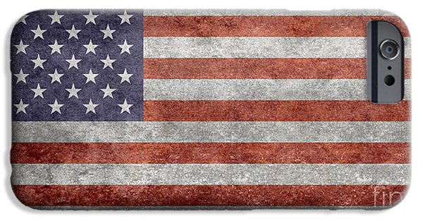 4th July iPhone Cases - Flag of the United States of America  Vintage Retro version iPhone Case by Bruce Stanfield