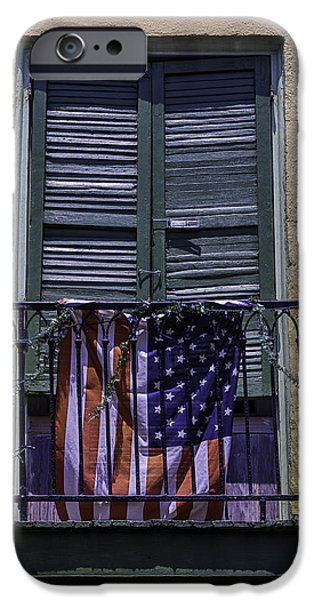 Building iPhone Cases - Flag On Wrought Iron Rail iPhone Case by Garry Gay