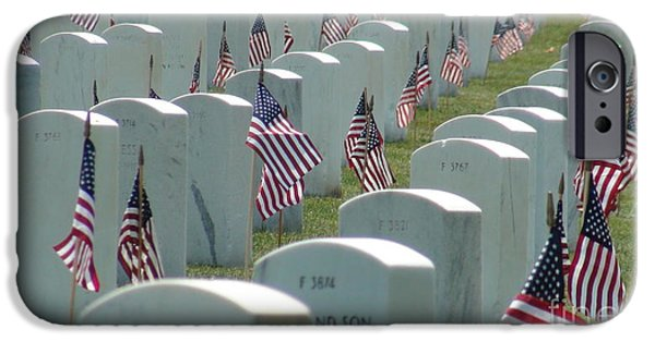 Cemetary iPhone Cases - Flag Tribute iPhone Case by Tim Sevcik