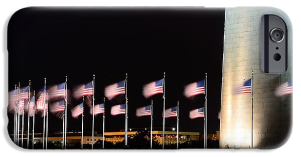 D.c. iPhone Cases - Flags at the Washington Monument iPhone Case by Frederick Walker