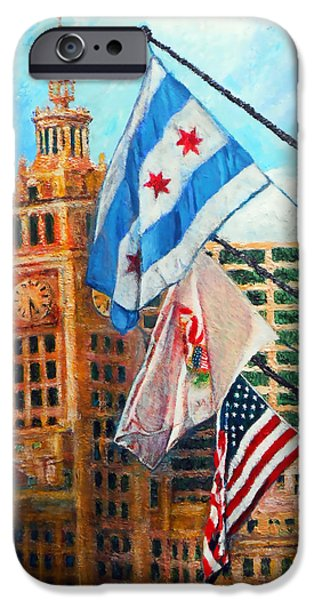 Wrigley iPhone Cases - Flags Over Wrigley iPhone Case by Michael Durst