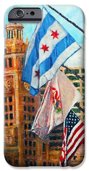 Sears Tower iPhone Cases - Flags Over Wrigley iPhone Case by Michael Durst
