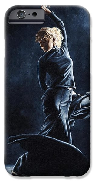 Brilliant Paintings iPhone Cases - Flamenco Dexterity iPhone Case by Richard Young