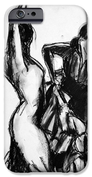 Joyful Drawings iPhone Cases - Flamenco Sketch 1 iPhone Case by Mona Edulesco